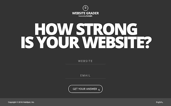 「Website Grader」のトップページ