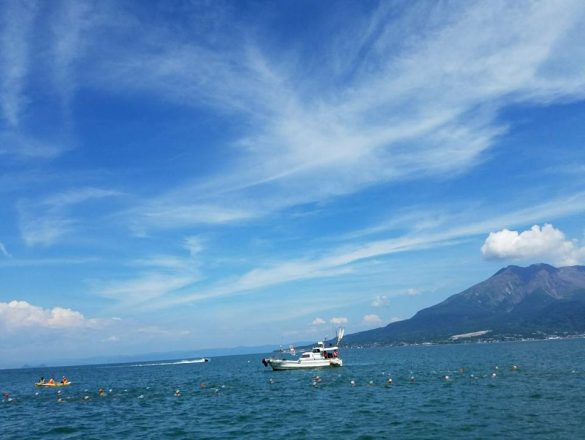 桜島と遠泳
